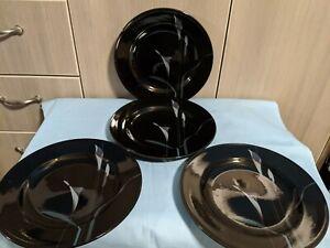 Set-of-4-MIKASA-GALLERIA-OPUS-BLACK-8-3-8-Inch-Salad-Plates-Calla-Lily-FK701