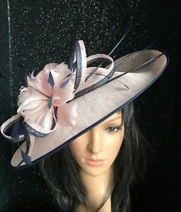 27f07169f7f NIGEL RAYMENT PINK AND NAVY WEDDING ASCOT DISC FASCINATOR Mother The ...