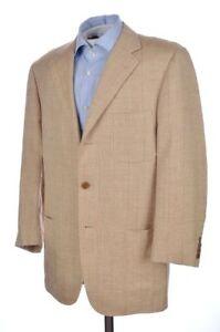 RAFFAELE-CARUSO-Beige-Check-SILK-LINEN-Patch-Pocket-Blazer-Sport-Coat-40-R