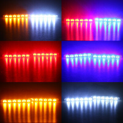 2 3 LED Car Truck Flashing Emergency Strobe Light Bar Red Blue Amber White Green