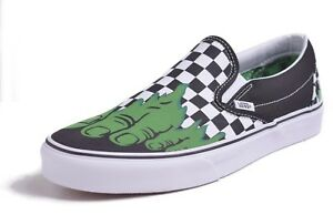 3c85b4f9f9fb Vans Classic Slip-On Men s Marvel Hulk Checkered Skateboard Shoes ...