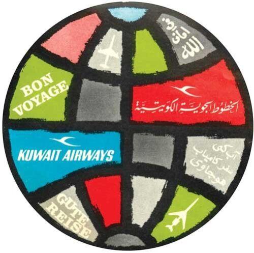 Kuwait Airways   Airline    1950/'s Vintage Looking Travel Sticker  Decal Label