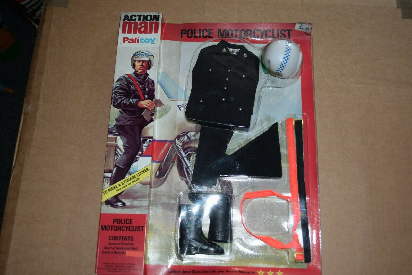 Palitoy Original Vintage Action Man Police Motorcyclist Mint on sealed Card