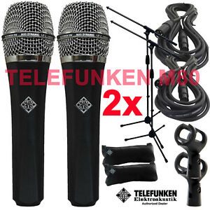 Details about 2x Telefunken M80 Dynamic Microphone (STANDARD) + 20ft XLR  Cable and a Mic Stand