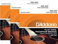 D'addario Guitar Strings 3 Pack Acoustic Eft15 Extra Light