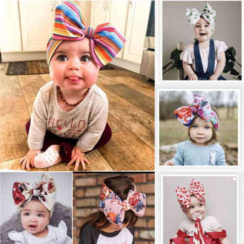 Cute Kids Girl Baby Flower Bow Hair Band Accessories Headband Infant US Newborn