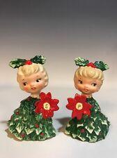 Vtg Holt Howard Japan Holly Poinsettia Girl Christmas Tree Salt & Pepper Shakers
