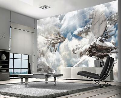 Star Wars Battle Ships Wallpaper Woven Self Adhesive Wall Art Mural Decal M239 Ebay