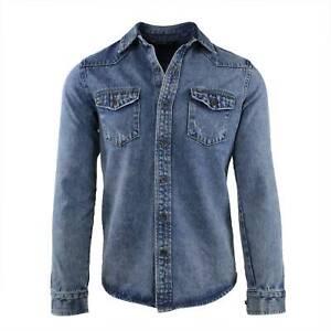 Camicia-Jeans-Uomo-Slim-Fit-Blu-Denim-Manica-Lunga-Casual-S-M-L-XL-XXL