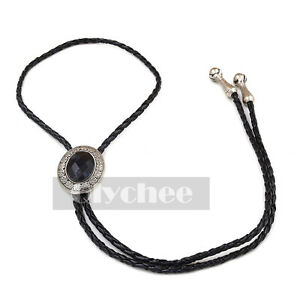 1 Pc Vintage Rodeo Cowboy Black Western Leather Cord Bolo Tie Silver Metal
