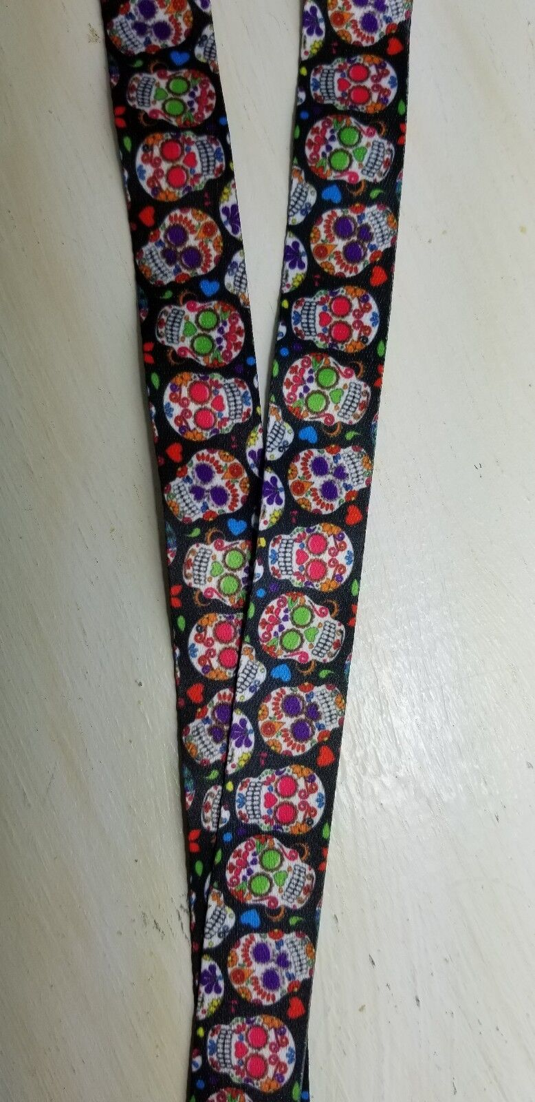 2 sizes ID badges ribbon gotic goth Skull sugar lanyard breakaway ID holder