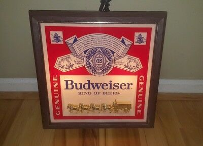 Breweriana, Beer Vintage Budweiser Deluxe Label Sign Lighted Wall Hanging Bar Clock Lamp #017-624 100% Original
