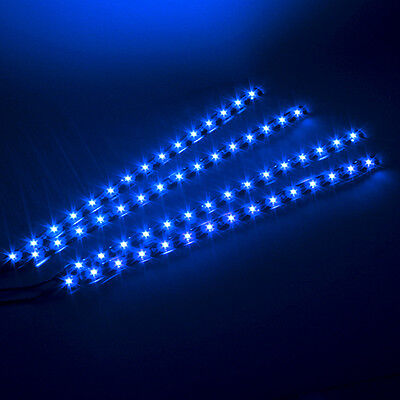 4x Waterproof BLUE Car Lighting Flexible Decorative Light Lamp Strip 15 LED 30cm