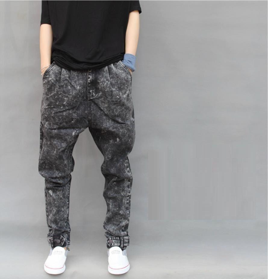 Men Denim Trousers Harem Baggy Pants Jeans Oversized Hip Hop Snowflake Loose Fit
