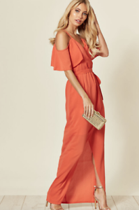 Womens-Orange-Wrap-Cold-shoulder-Split-Leg-Summer-Evening-Maxi-Dress-Size-8-14