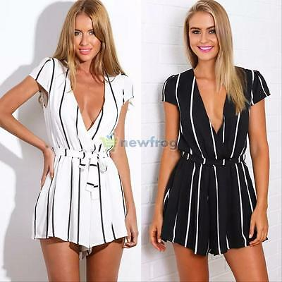 Summer Women's Clubwear V Neck Playsuit Bodycon Party Jumpsuit Rompers Trousers
