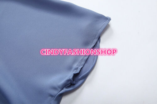 Women V-neck  Pocket Short Sleeve chiffon Drawstring Casual Play suit Jumpsuit