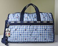 Lesportsac Disney Minnie Checks And Bows 7185 Large Weekender Duffle Travel Bag