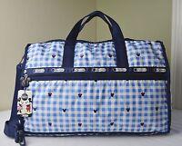 Lesportsac Disney Minnie Checks And Bows 7185 Large Weekender Duffle Travel Bag