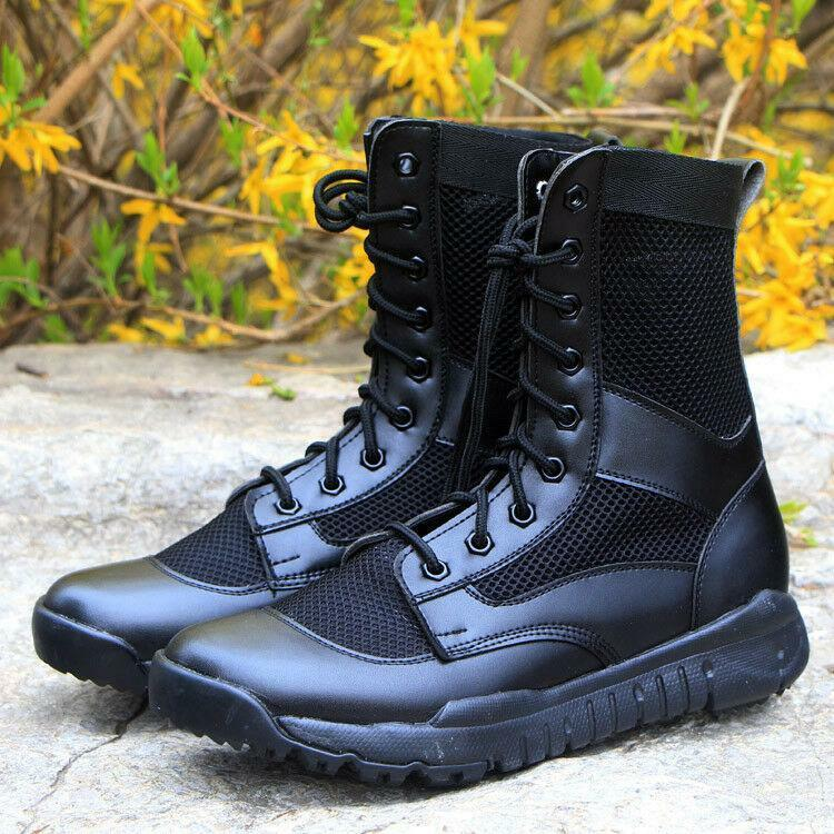 Outdoor Mens lace up combat Tactical Hiking ventilate Black trainer ankle Boots