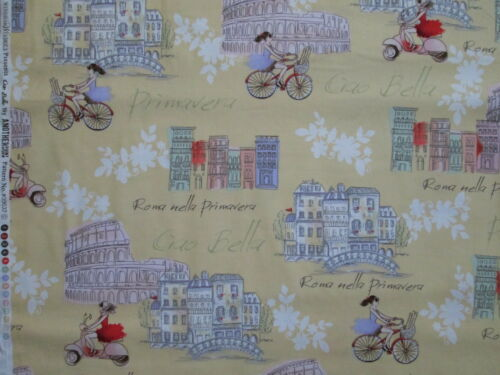 VESPA SCOOTERS RETRO BICYCLES ROME SITES YELLOW COTTON FABRIC BTHY