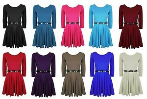 Filles-Longues-Robe-patineuse-manches-Skater-taille-EU-9-13-ans
