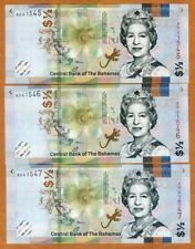 SET Bahamas, 3 x 1/2 dollar (50 cents) Consecutive Trio, 2018 (2019) QEII, UNC