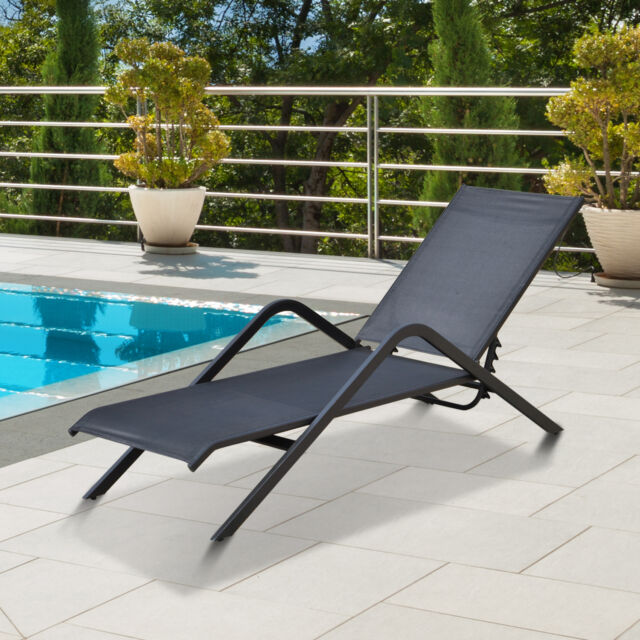 Tumbona de Jardín para tomar el sol Respaldo Ajustable Acero y Textilene Negro