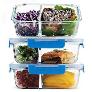 Glass-Meal-Prep-Containers-2-Compartment-3-Pack-32oz-Prep-Bake-Freeze-In-One