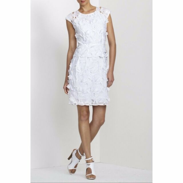 Bcbg Max Azria Aveline White Embroidered A Line Tail Evening Dress S