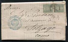 1864 - Lettera da Torino a Como resa franca con coppia cent.1 - Sassone L14