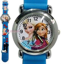Disney Frozen Elsa & Anna Children Child Kids Girls 3D Quartz Wrist Watch Blue