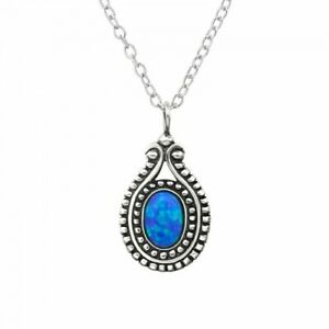 925-Sterling-Silver-Oval-with-Pacific-Blue-Opal-Gemstone-Pendant-Necklace
