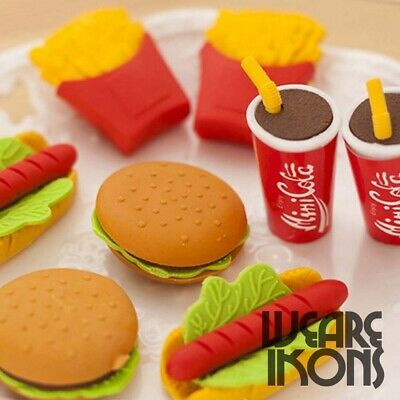 Novelty Eraser Rubber Party Bag Fillers Kids Stationary Gifts Favour Loot Burger