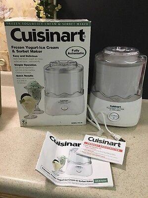 Cuisinart Ice-20 Ice Cream Maker Machine w/ Original Box & Manual 1.5 Qt White