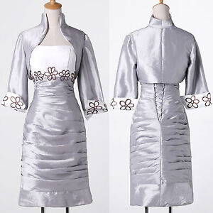 Wedding Guest Suit With Jacket Silver Womens Mother Of The Bride Outfit Dress