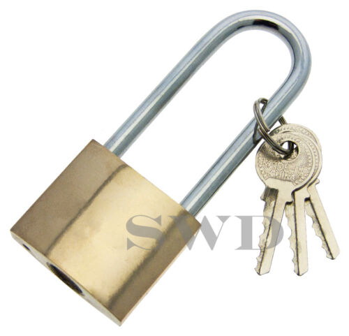 38mm Brass Padlock Long Shank with 3 Keys Gate Locker Tow Hitch Bicycle Bike Pad