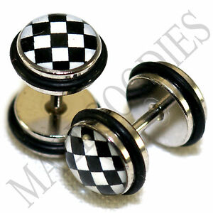 0159-Fake-Cheaters-Faux-Illusion-Ear-Plugs-16G-Black-amp-White-Checkered-0G-8mm