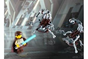 LEGO-Star-Wars-2-Rare-Droidekas-amp-Obi-Wan-Kenobi-w-Ponytail-amp-Silver-Chrome