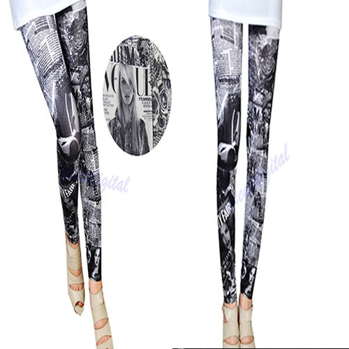 Fashion Sexy Women Car Beauty Newspaper  Print Stretch Leggings Tight Pant