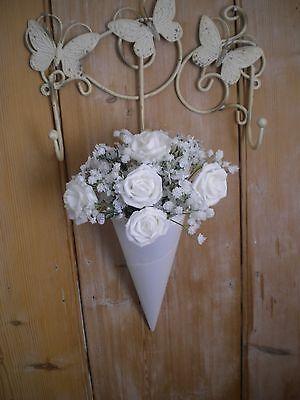12 Chiesa Bianco Perla Estremamente Pew Finisce, Matrimonio Decorazione Da Appendere, Pizzo E Diamante-
