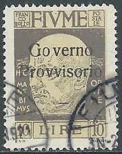 1920 FIUME USATO D'ANNUNZIO 10 LIRE - F12-2