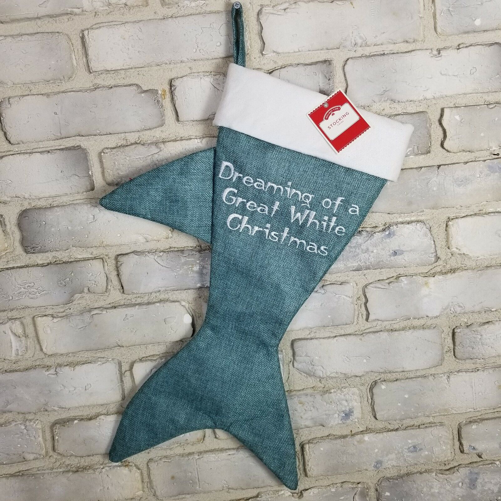 """Great White Shark Shaped Teal Canvas Christmas Stocking 20/"""" New"""