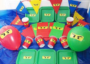 Lego Ninjago Birthday Party Set Pack Kit Tableware Plates Party Bags