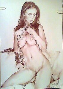Original Kunst Erotik, nackt, sexy Body Modell Mädchen Portrait Schönheit, Impressionismus