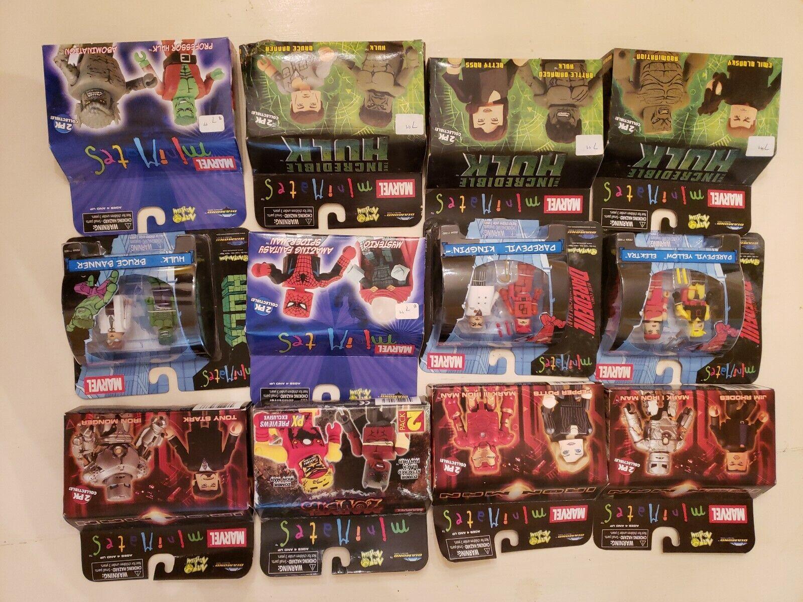 Marvel Minimates Lot Unopened Unopened Iron Man, Hulk, Spider-Man, Daredevil, Mysterio