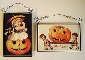 2 Retro Halloween Decorations Die Cut Cutout Vintage Style Postcard
