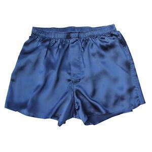 Jasmine-Silk-Herren-Klassisch-Seide-Boxer-Shorts-Marineblau