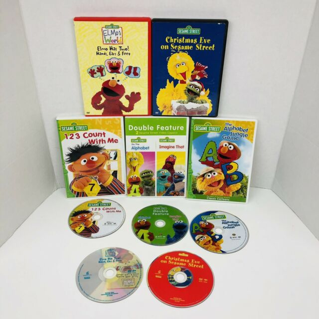 Lot Of 5 Sesame Street Dvds Elmo S World Count With Me Imagine That Big Bird X5