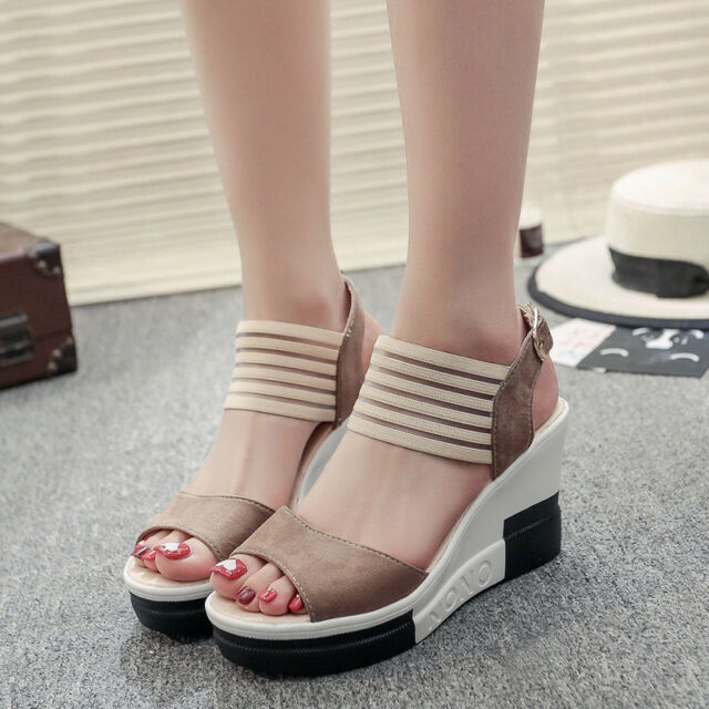 Women's Fish Mouth Sandals Shoes Wedge Heel High Platform Open Toe Buckle Summer